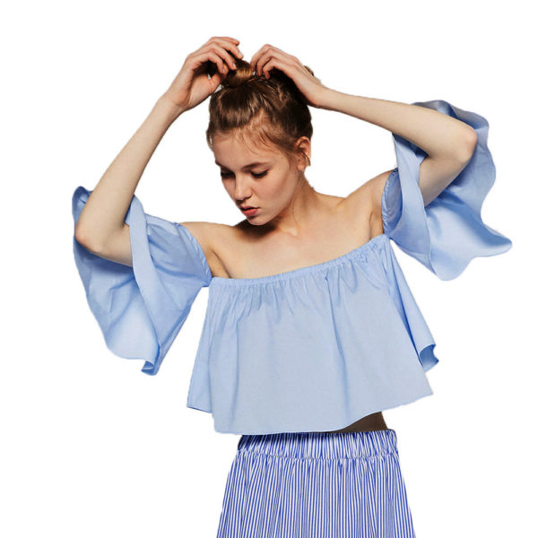 Ruffle crop bardot top